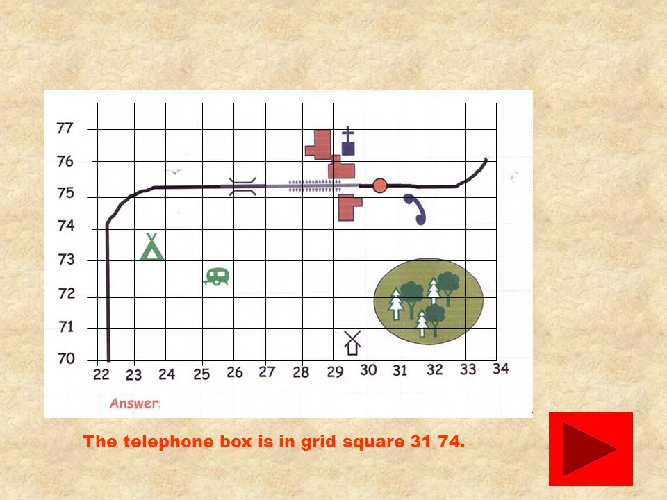 The telephone box is in grid square 31 74.