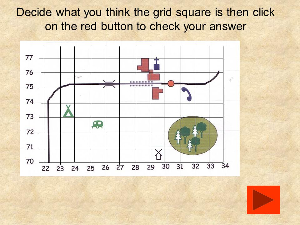 Decide what you think the grid square is then click on the red button to check your answer