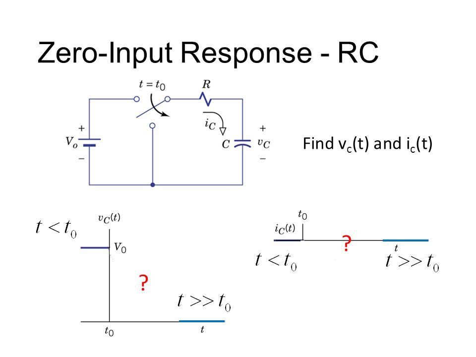 Zero-Input Response - RC ? ? Find v c (t) and i c (t)