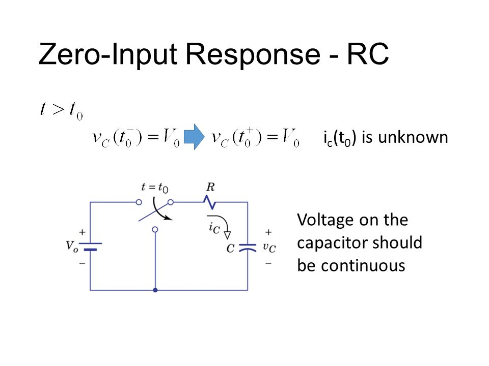 Zero-Input Response - RC i c (t 0 ) is unknown Voltage on the capacitor should be continuous