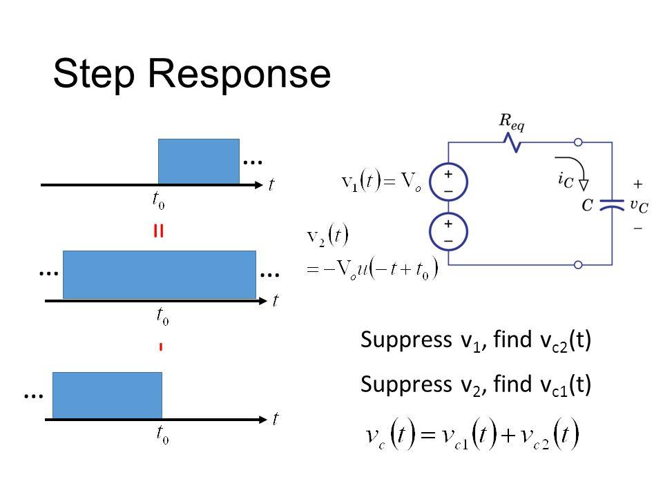 Step Response Suppress v 1, find v c2 (t) Suppress v 2, find v c1 (t) … … … … - =