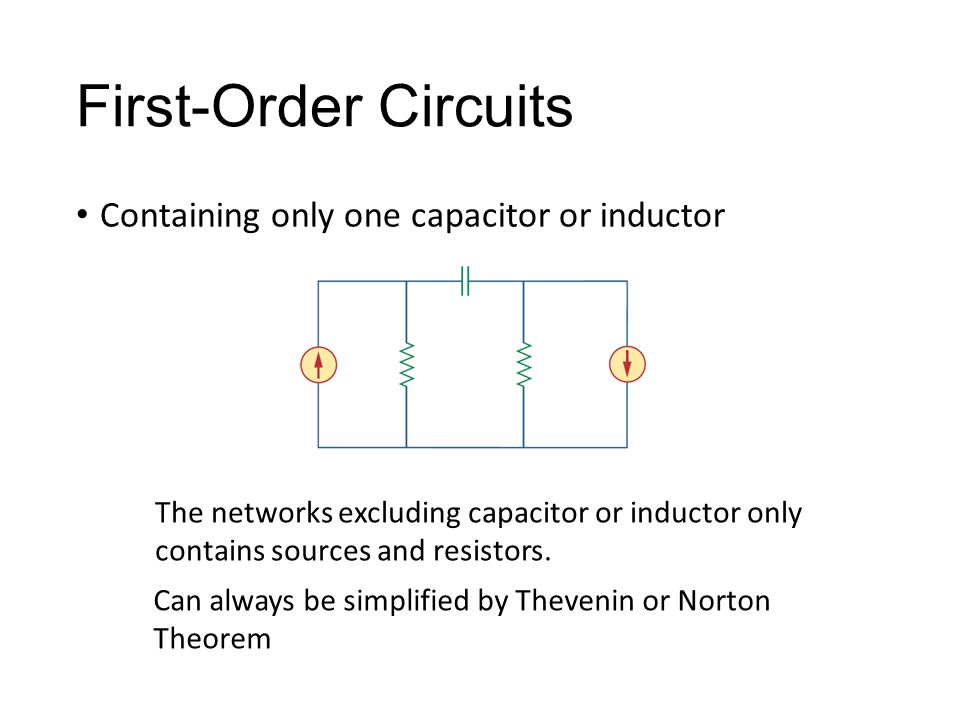 First-Order Circuits Containing only one capacitor or inductor The networks excluding capacitor or inductor only contains sources and resistors. Can a