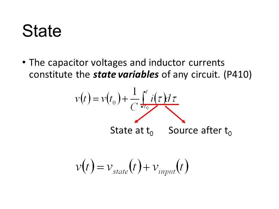 State The capacitor voltages and inductor currents constitute the state variables of any circuit.
