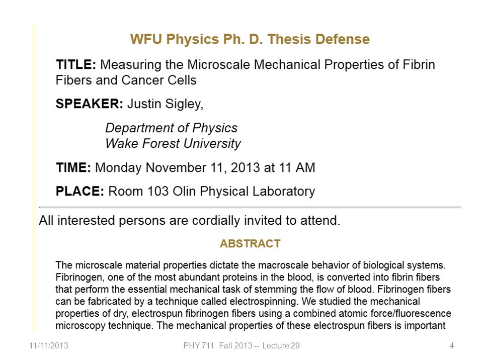 11/11/2013PHY 711 Fall 2013 -- Lecture 294