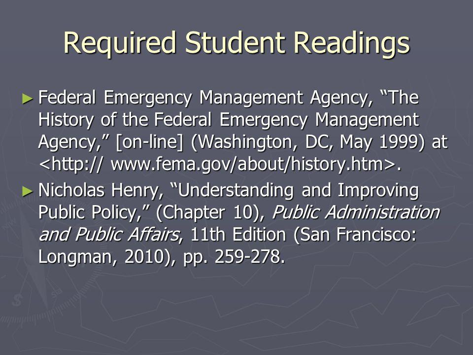 The Creation of FEMA  U.S.