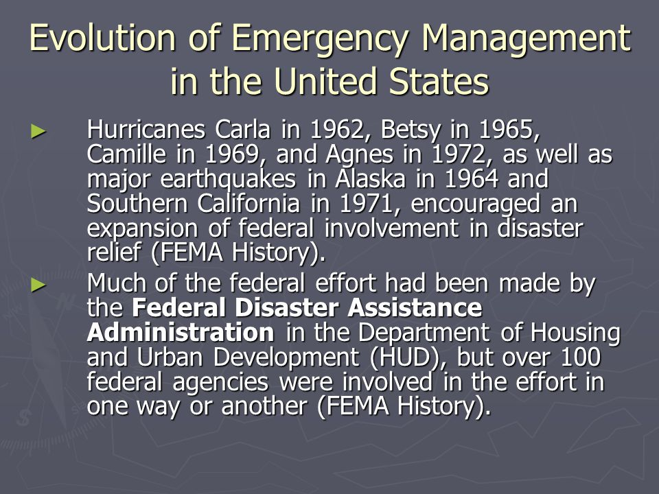 The Creation of FEMA ► EO 12656 also assigned each of 26 agencies specific responsibilities in the event of a major national security emergency.