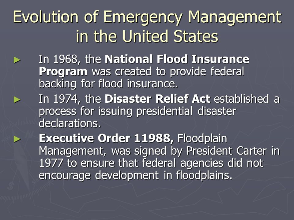 The Creation of FEMA ► In 1992, FEMA completed the Federal Response Plan (FRP), which formalized cooperative arrangements with 27 federal agencies and the American Red Cross.
