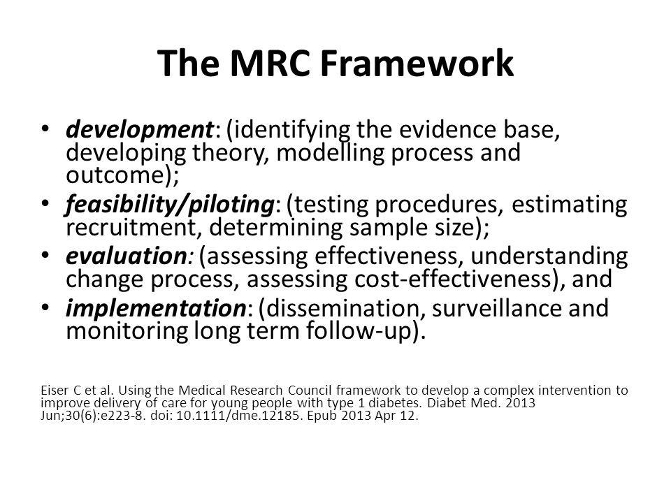 The MRC Framework development: (identifying the evidence base, developing theory, modelling process and outcome); feasibility/piloting: (testing procedures, estimating recruitment, determining sample size); evaluation: (assessing effectiveness, understanding change process, assessing cost-effectiveness), and implementation: (dissemination, surveillance and monitoring long term follow-up).