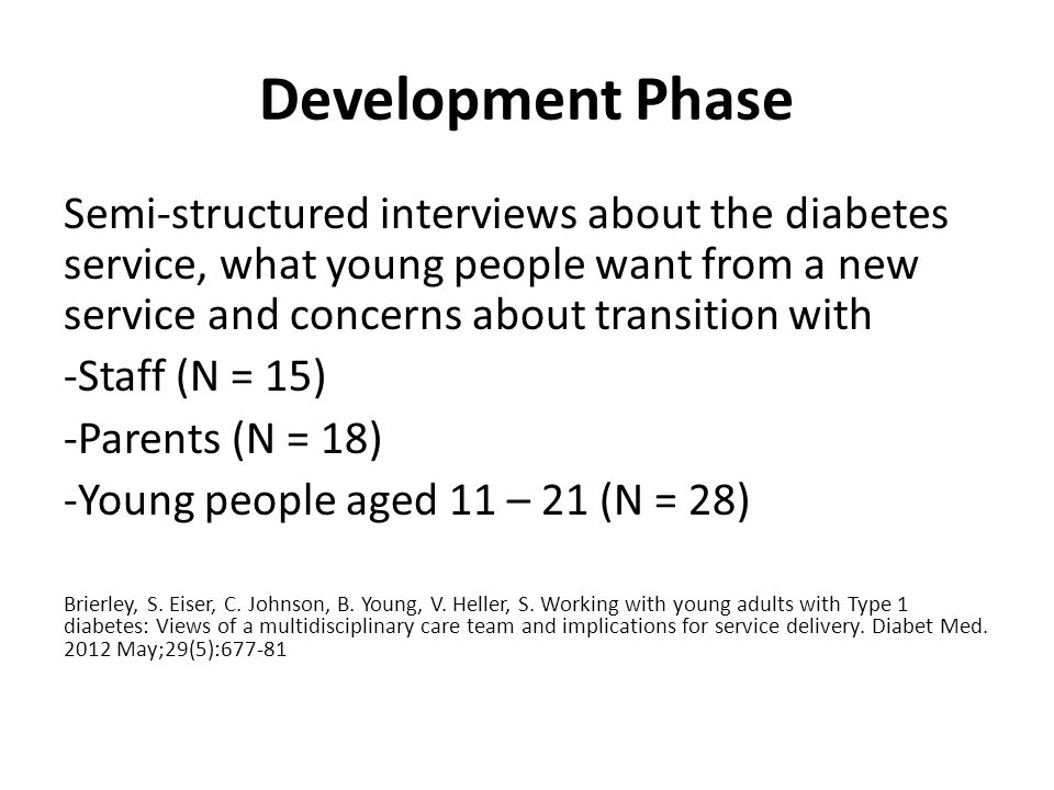 Development Phase Semi-structured interviews about the diabetes service, what young people want from a new service and concerns about transition with -Staff (N = 15) -Parents (N = 18) -Young people aged 11 – 21 (N = 28) Brierley, S.