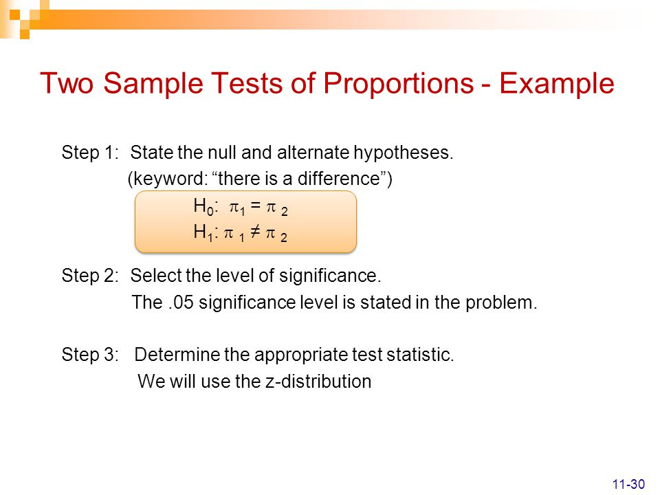 Two Sample Tests of Proportions - Example Step 1: State the null and alternate hypotheses.