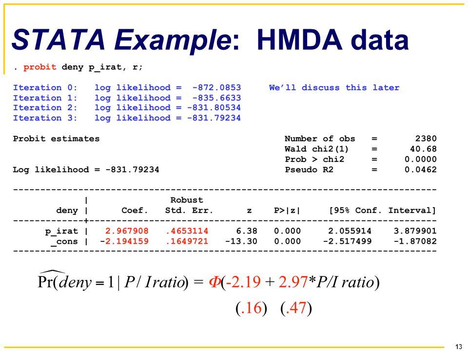 13 STATA Example: HMDA data