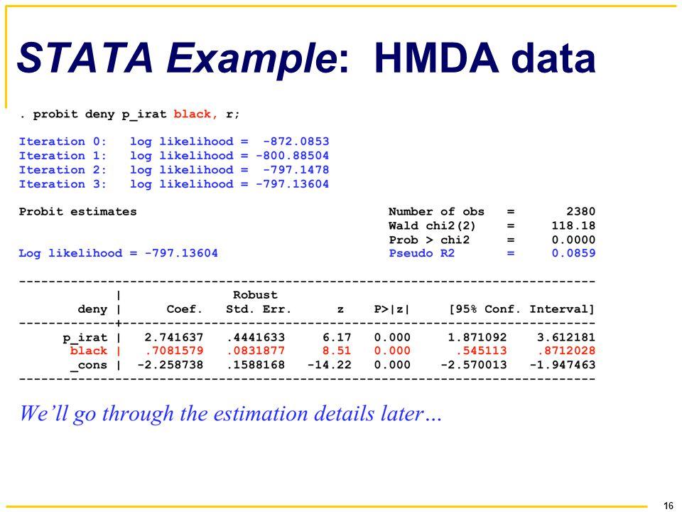 16 STATA Example: HMDA data