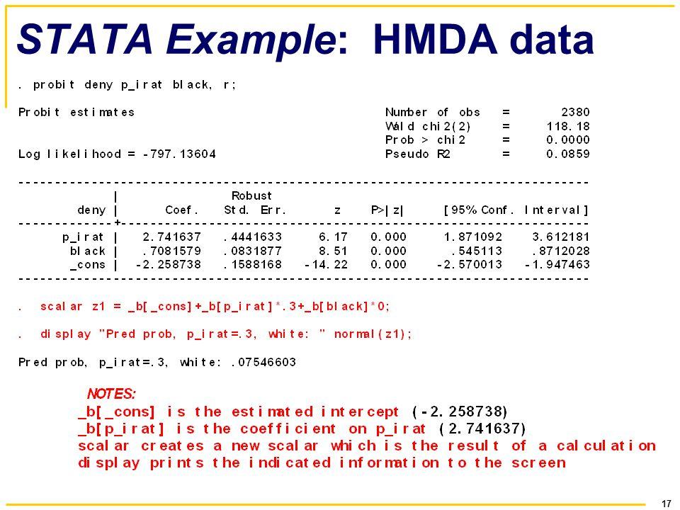 17 STATA Example: HMDA data