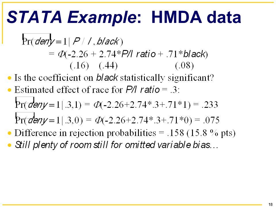 18 STATA Example: HMDA data
