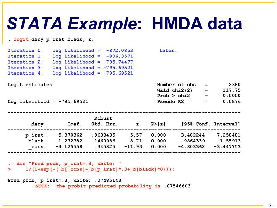 23 STATA Example: HMDA data