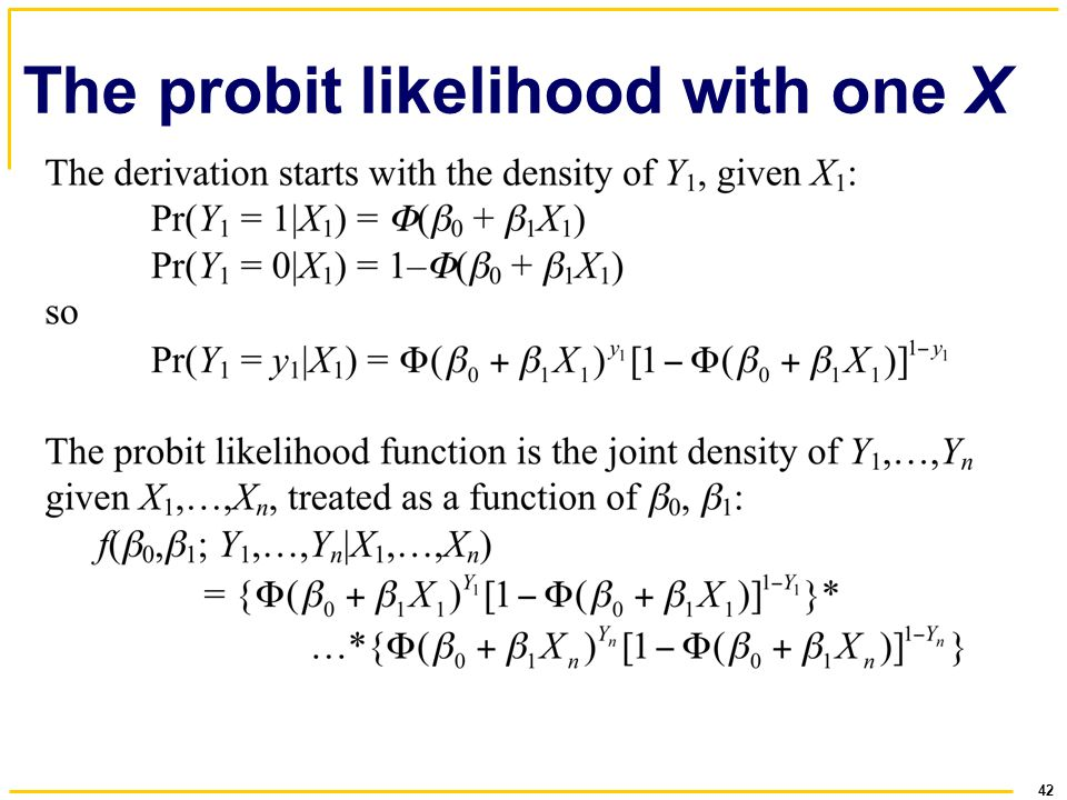42 The probit likelihood with one X