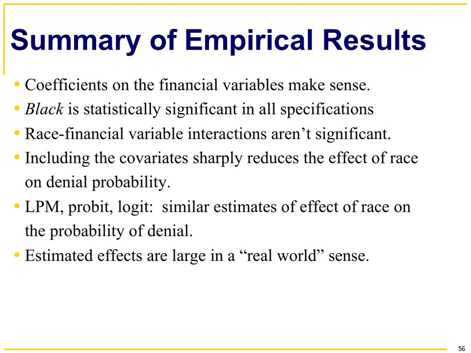 56 Summary of Empirical Results