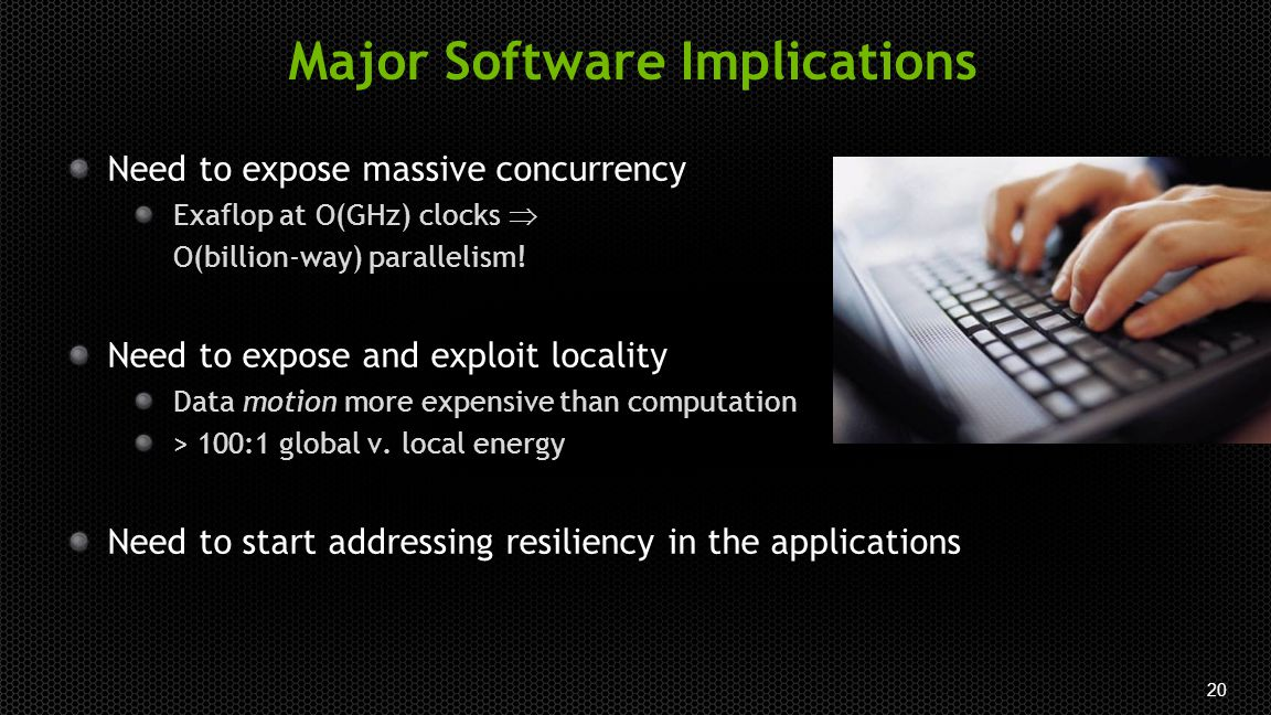 20 Major Software Implications Need to expose massive concurrency Exaflop at O(GHz) clocks  O(billion-way) parallelism.