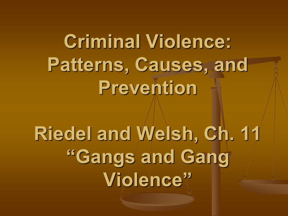 Criminal Violence: Patterns, Causes, and Prevention Riedel and Welsh, Ch.