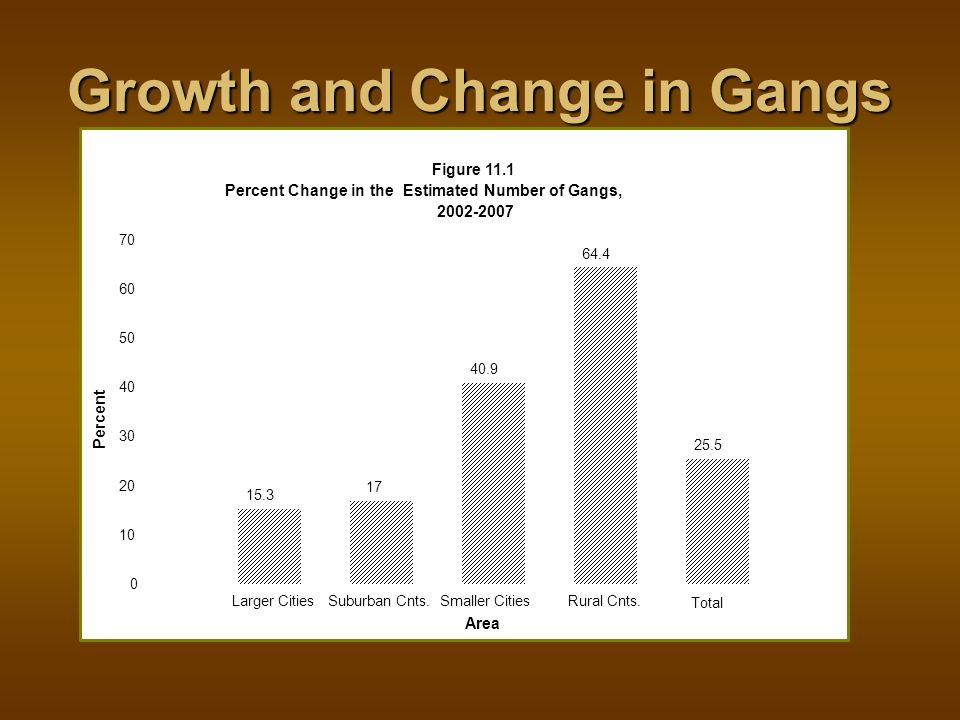 Growth and Change in Gangs Area Percent Figure 11.1 Percent Change in the Estimated Number of Gangs, 2002-2007 0 10 20 30 40 50 60 70 Larger CitiesSuburban Cnts.Smaller CitiesRural Cnts.
