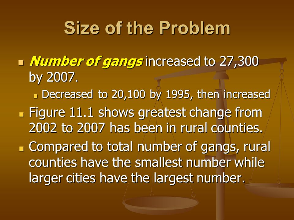 Size of the Problem Number of gangs increased to 27,300 by 2007.