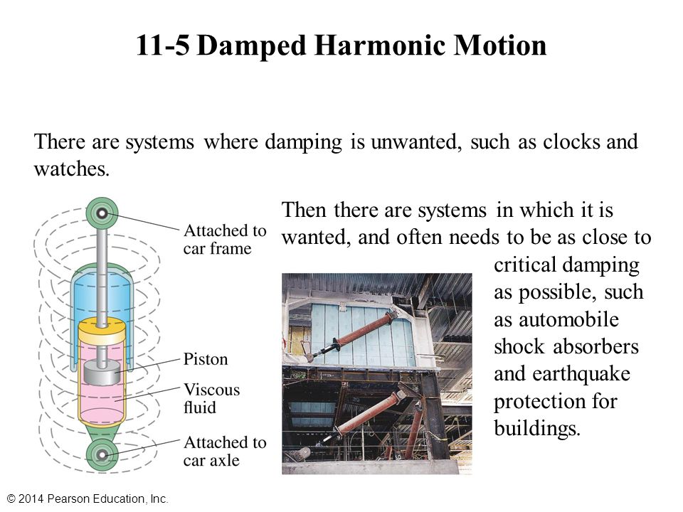 11-5 Damped Harmonic Motion © 2014 Pearson Education, Inc. There are systems where damping is unwanted, such as clocks and watches. Then there are sys