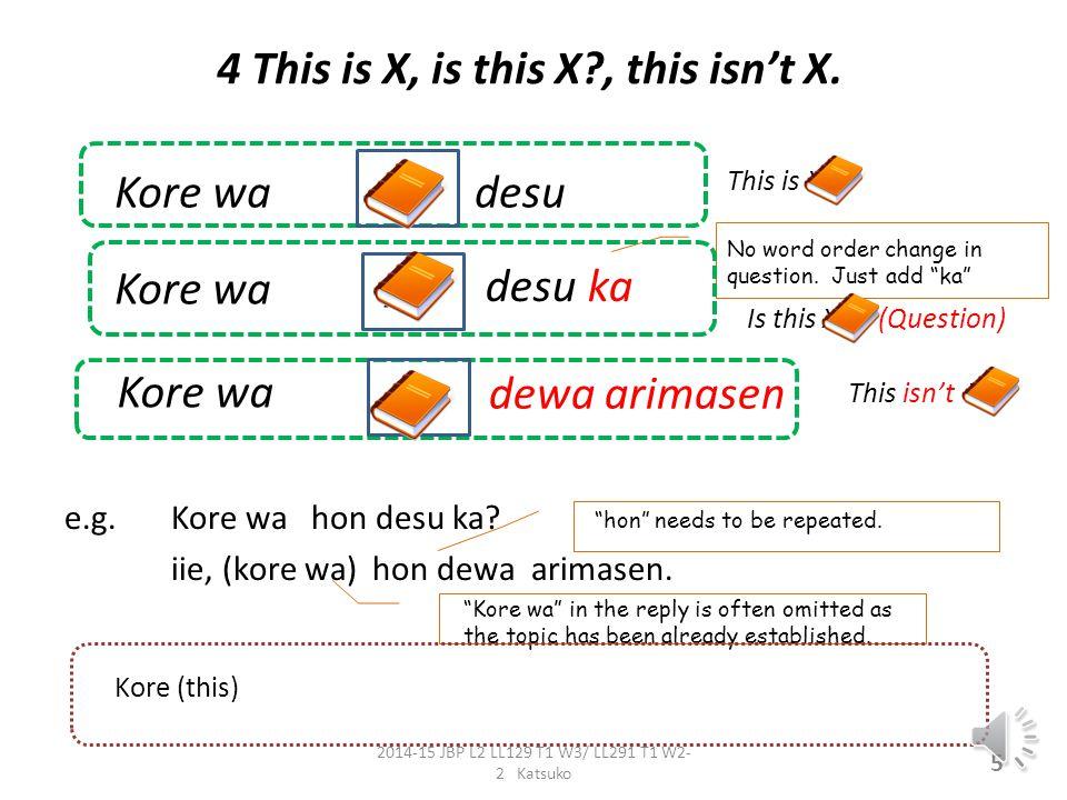 4 This is X, is this X?, this isn't X.e.g. Kore wa hon desu ka.
