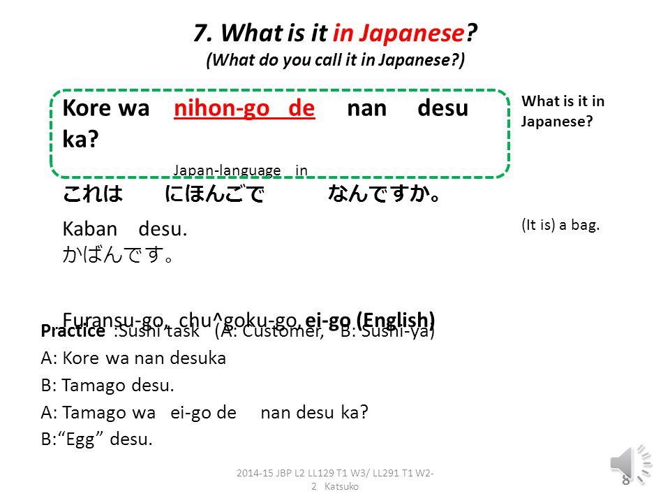 6 What is X?. e.g. Kore wa nan desu ka. (kore wa) hon desu.