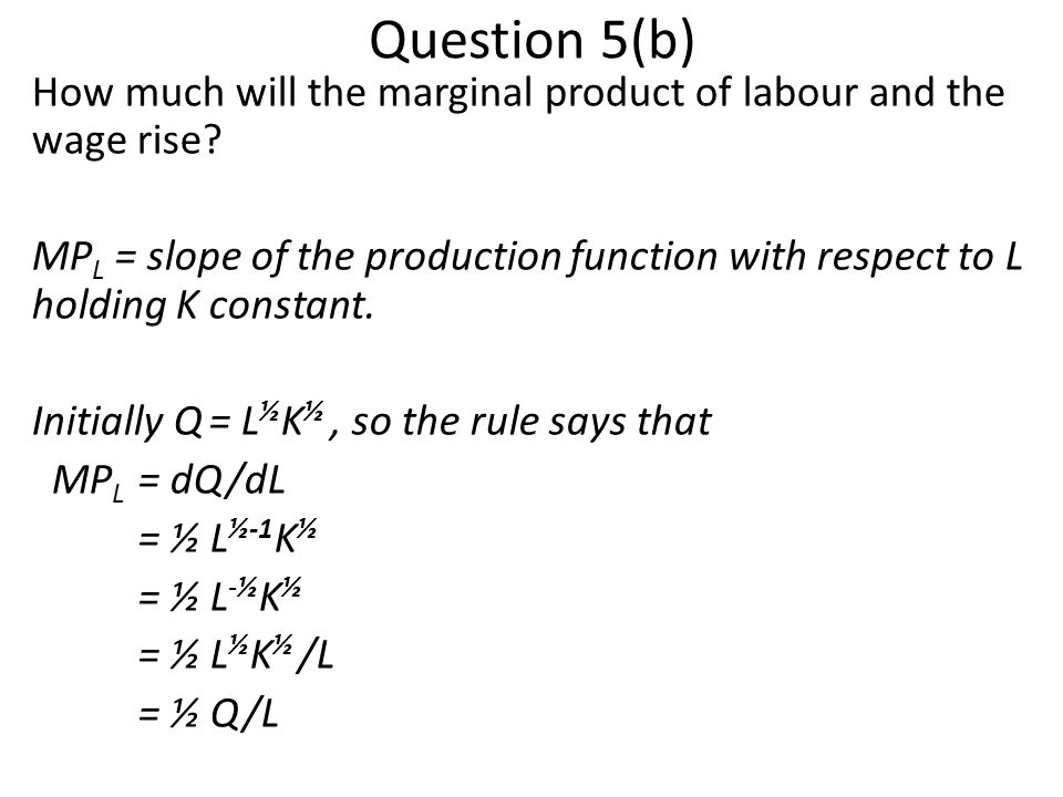 Question 5(b) How much will the marginal product of labour and the wage rise.