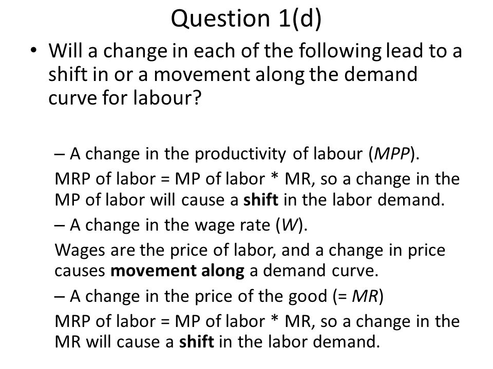 Question 5(b) How will the average productivity of labor change.