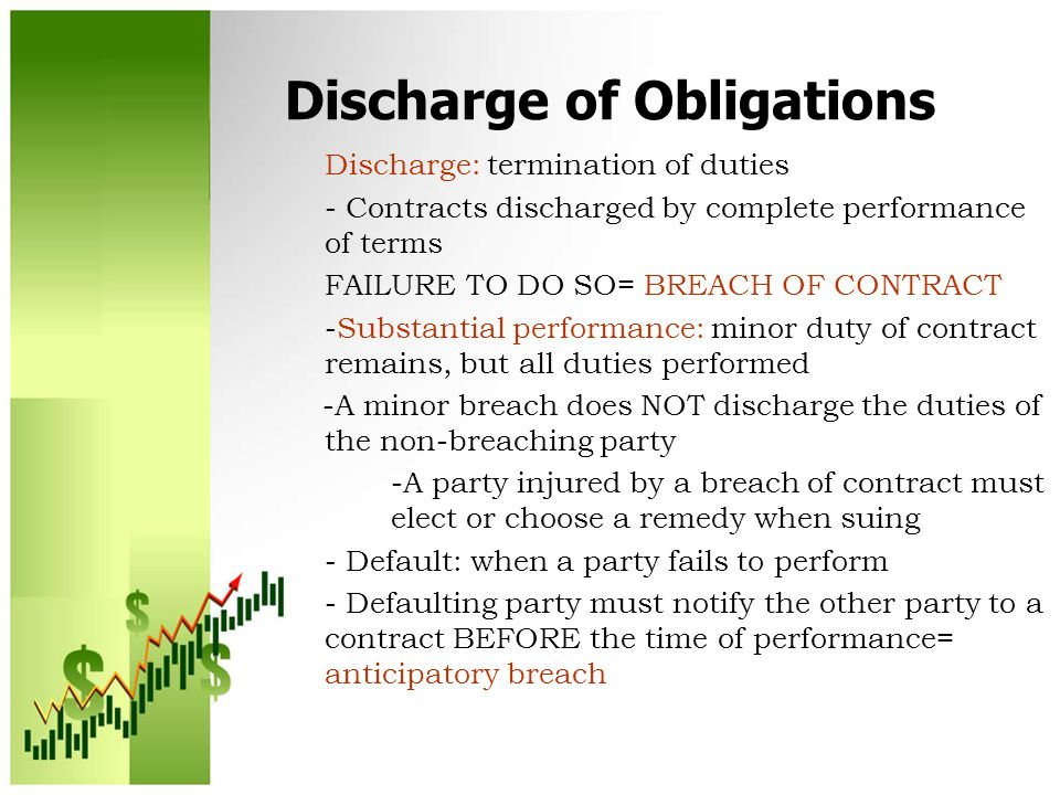 Discharge of Obligations Discharge: termination of duties - Contracts discharged by complete performance of terms FAILURE TO DO SO= BREACH OF CONTRACT -Substantial performance: minor duty of contract remains, but all duties performed -A minor breach does NOT discharge the duties of the non-breaching party -A party injured by a breach of contract must elect or choose a remedy when suing - Default: when a party fails to perform - Defaulting party must notify the other party to a contract BEFORE the time of performance= anticipatory breach