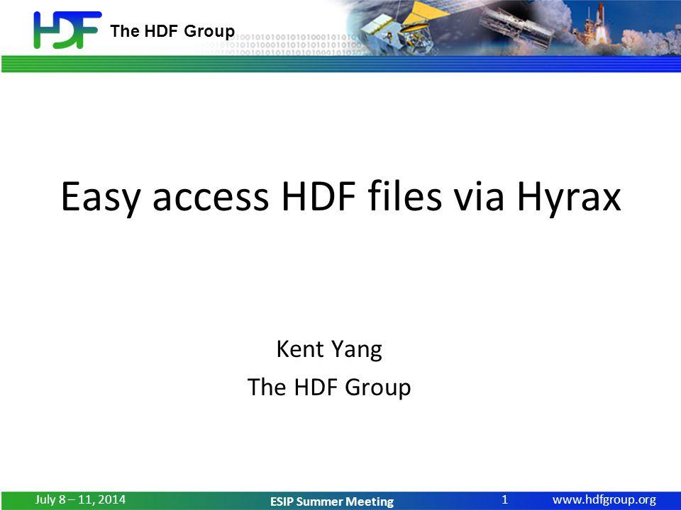 www.hdfgroup.org ESIP Summer Meeting Demo 3 – HDF-EOS5 (OMI grid) July 8 – 11, 2014 12