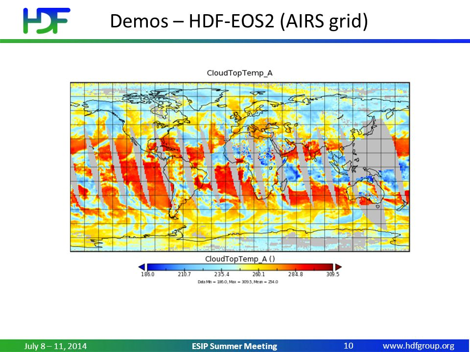 www.hdfgroup.org ESIP Summer Meeting Demos – HDF-EOS2 (AIRS grid) July 8 – 11, 2014 10