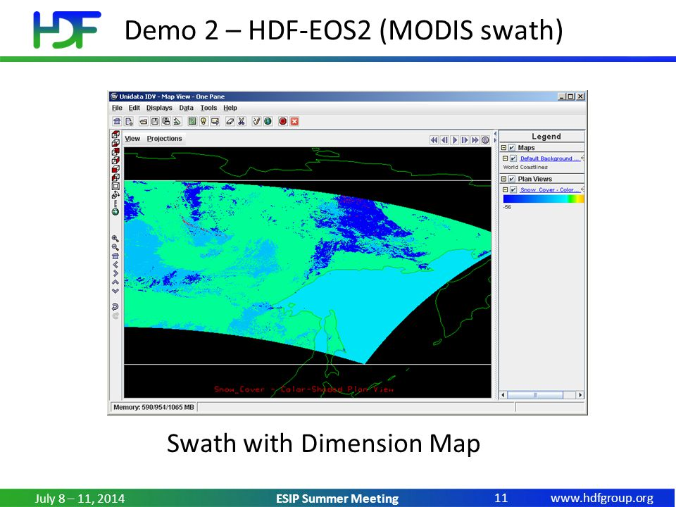 www.hdfgroup.org ESIP Summer Meeting Demo 2 – HDF-EOS2 (MODIS swath) July 8 – 11, 2014 11 Swath with Dimension Map