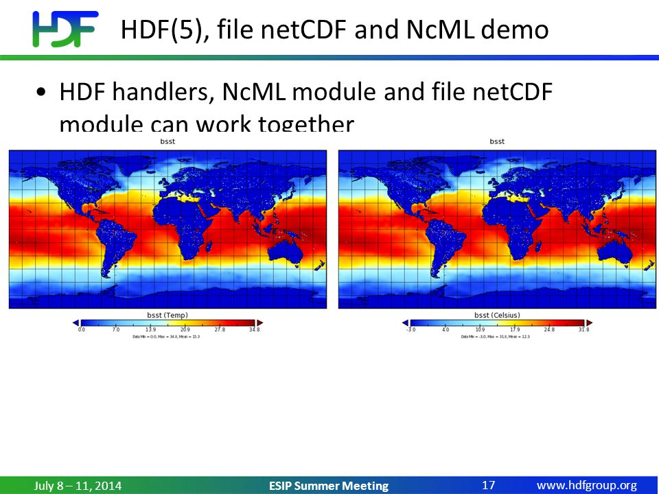 www.hdfgroup.org ESIP Summer Meeting HDF(5), file netCDF and NcML demo HDF handlers, NcML module and file netCDF module can work together AVHRR example July 8 – 11, 2014 17