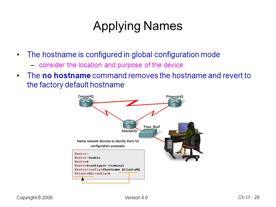 Copyright © 2008Version 4.0 Ch 11 - 28 Applying Names The hostname is configured in global configuration mode –consider the location and purpose of th