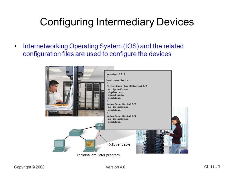 Copyright © 2008Version 4.0 Ch 11 - 3 Configuring Intermediary Devices Internetworking Operating System (IOS) and the related configuration files are