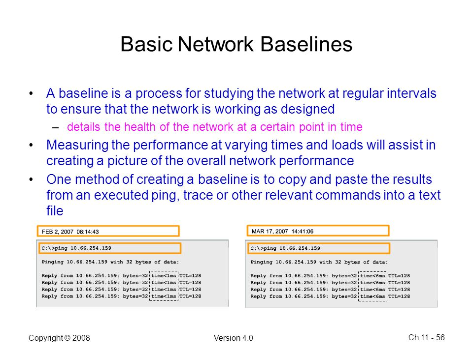 Copyright © 2008Version 4.0 Ch 11 - 56 Basic Network Baselines A baseline is a process for studying the network at regular intervals to ensure that th