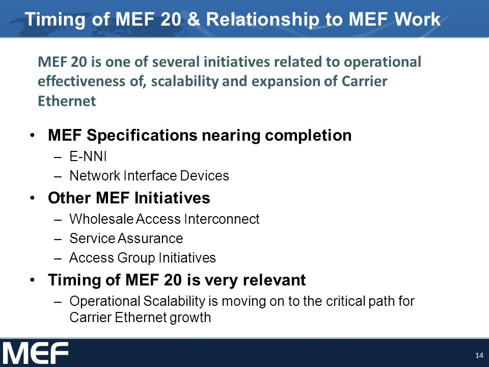 14 Timing of MEF 20 & Relationship to MEF Work MEF Specifications nearing completion –E-NNI –Network Interface Devices Other MEF Initiatives –Wholesal
