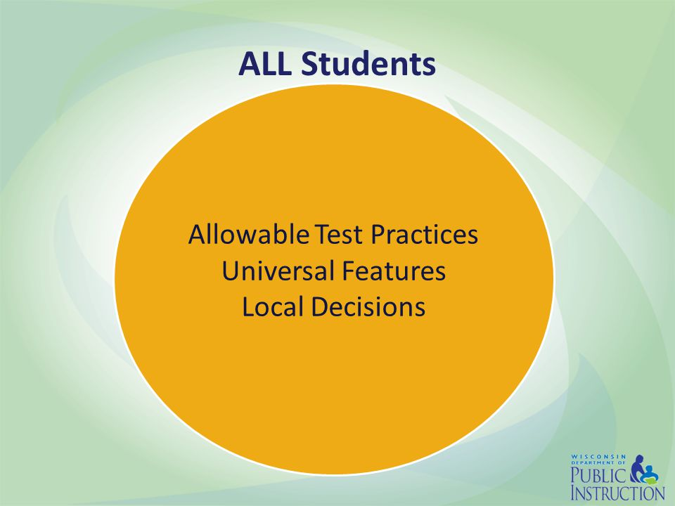 Allowable Test Practices Universal Features Local Decisions ALL Students