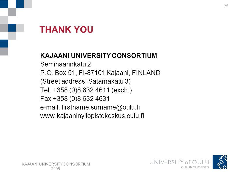 KAJAANI UNIVERSITY CONSORTIUM 2006 24 KAJAANI UNIVERSITY CONSORTIUM Seminaarinkatu 2 P.O. Box 51, FI-87101 Kajaani, FINLAND (Street address: Satamakat