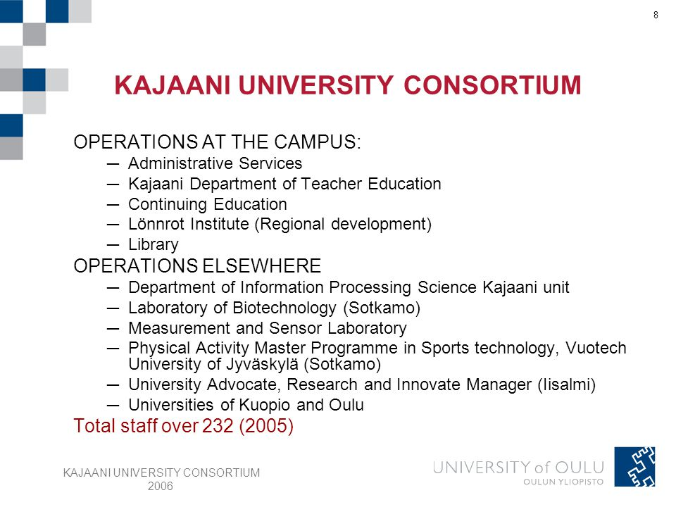 KAJAANI UNIVERSITY CONSORTIUM 2006 19 Functions ─Software production orientation alternative ─Software business orientation alternative ─Digital media (Master's degree programme) ─Software production (Master's degree programme) ─Mobile services (Master's degree programme) Budget 1,38 M € (2005) Staff 14 Students 137 Post-graduate students 4 DEPARTMENT OF INFORMATION PROCESSING SCIENCE Kajaani unit