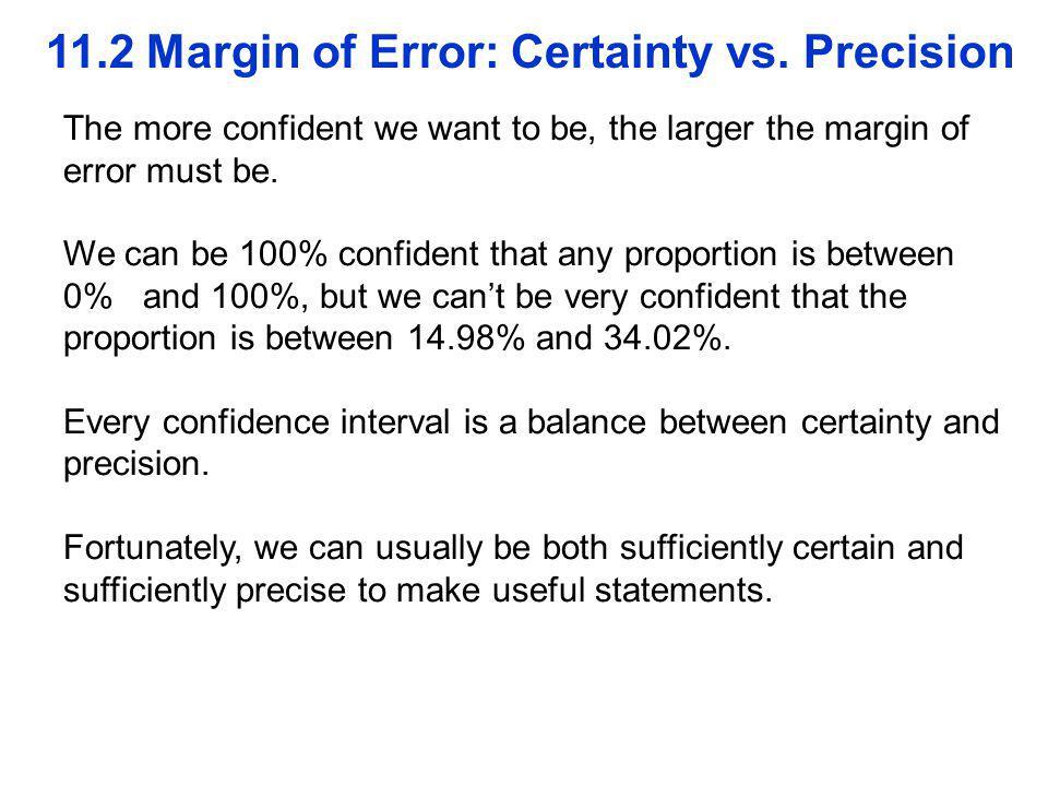 11.2 Margin of Error: Certainty vs.