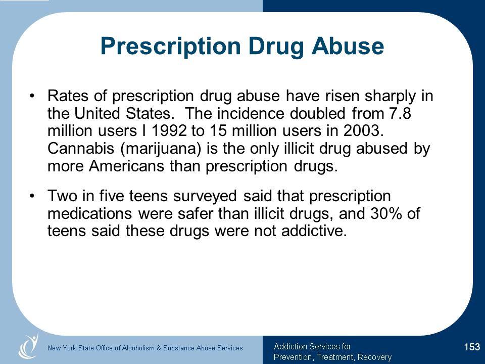 Prescription Drug Abuse Rates of prescription drug abuse have risen sharply in the United States.