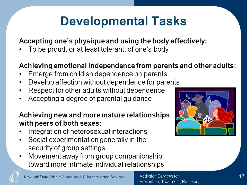 Developmental Tasks Accepting one's physique and using the body effectively: To be proud, or at least tolerant, of one's body Achieving emotional independence from parents and other adults: Emerge from childish dependence on parents Develop affection without dependence for parents Respect for other adults without dependence Accepting a degree of parental guidance Achieving new and more mature relationships with peers of both sexes: Integration of heterosexual interactions Social experimentation generally in the security of group settings Movement away from group companionship toward more intimate individual relationships 17