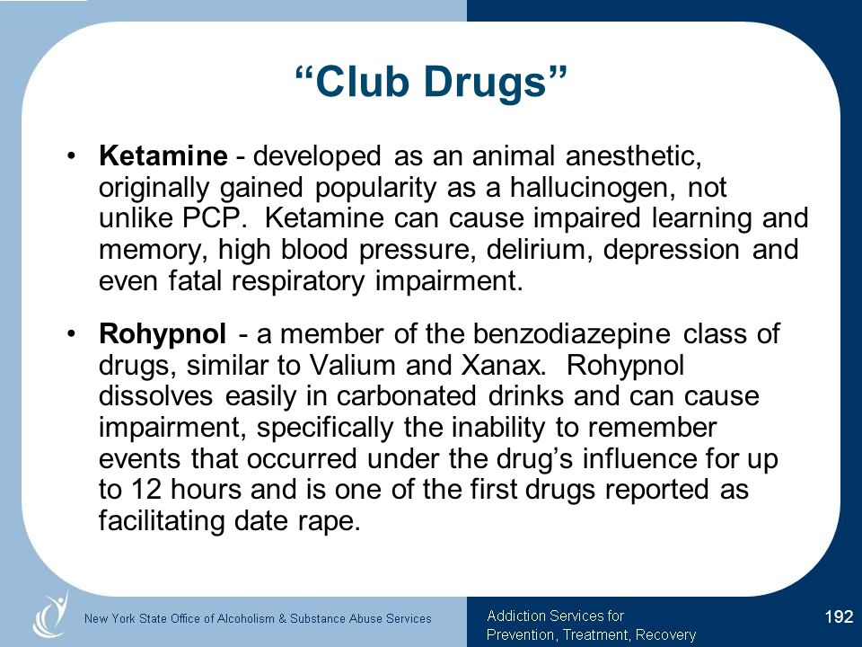 Ketamine - developed as an animal anesthetic, originally gained popularity as a hallucinogen, not unlike PCP.