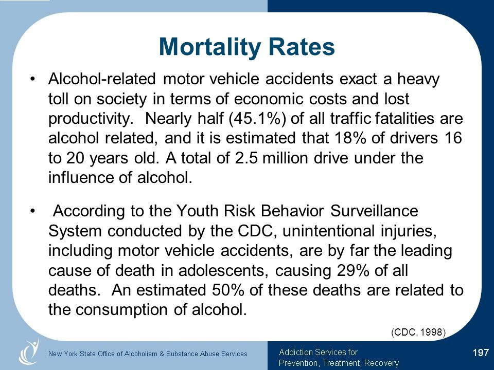 Mortality Rates Alcohol-related motor vehicle accidents exact a heavy toll on society in terms of economic costs and lost productivity.
