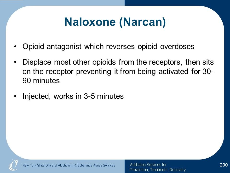Naloxone (Narcan) Opioid antagonist which reverses opioid overdoses Displace most other opioids from the receptors, then sits on the receptor preventing it from being activated for 30- 90 minutes Injected, works in 3-5 minutes 200