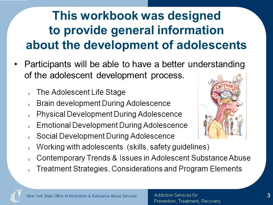 This workbook was designed to provide general information about the development of adolescents Participants will be able to have a better understanding of the adolescent development process.