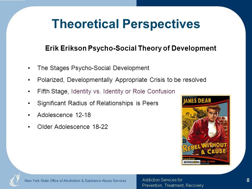 Theoretical Perspectives Erik Erikson Psycho-Social Theory of Development The Stages Psycho-Social Development Polarized, Developmentally Appropriate Crisis to be resolved Fifth Stage, Identity vs.